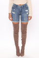 Lynda Distressed Denim Bermudas - Medium Blue Wash
