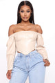 Juliette Off Shoulder Corset Top - Nude