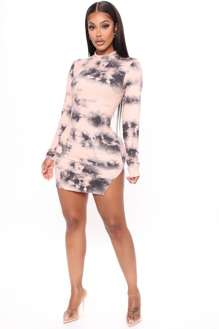 Warped Mood Tie Dye Mini Dress - Pink/combo
