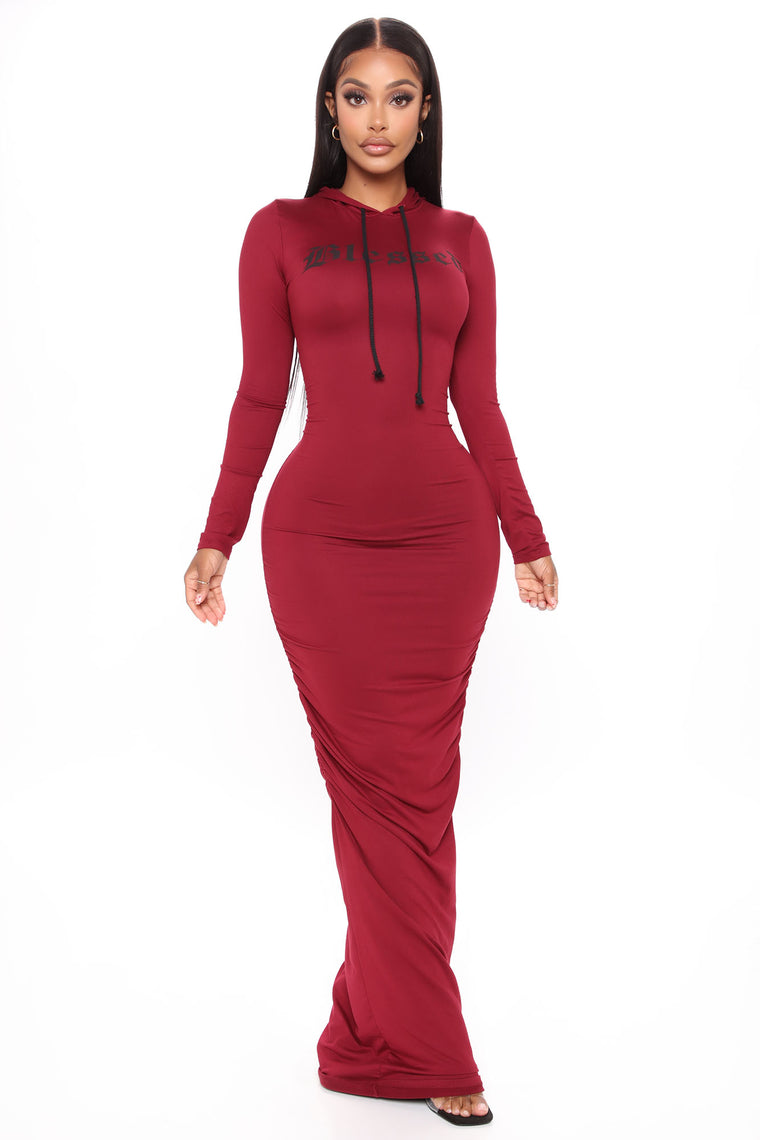 Blessed Hooded Maxi Dress - Burgundy