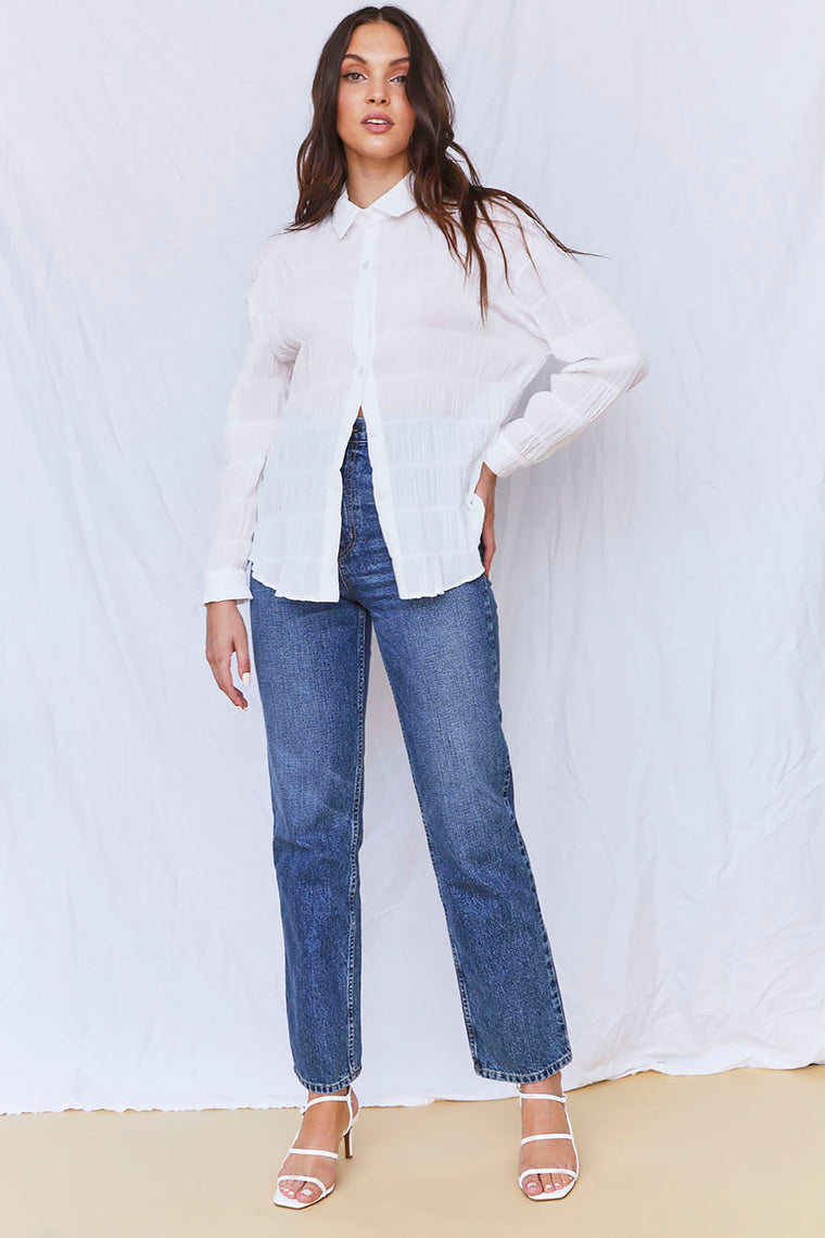 Melissa High Rise Straight Leg Jean - Medium Blue Wash