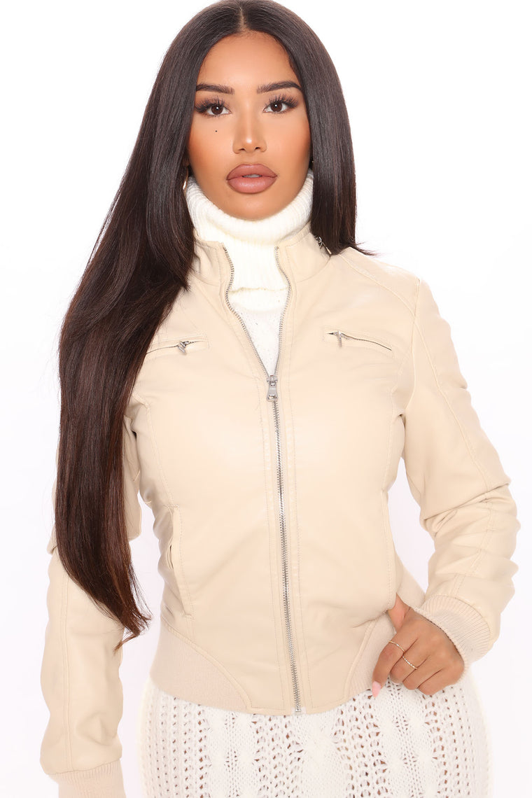 Need You Faux Leather Jacket - Sand