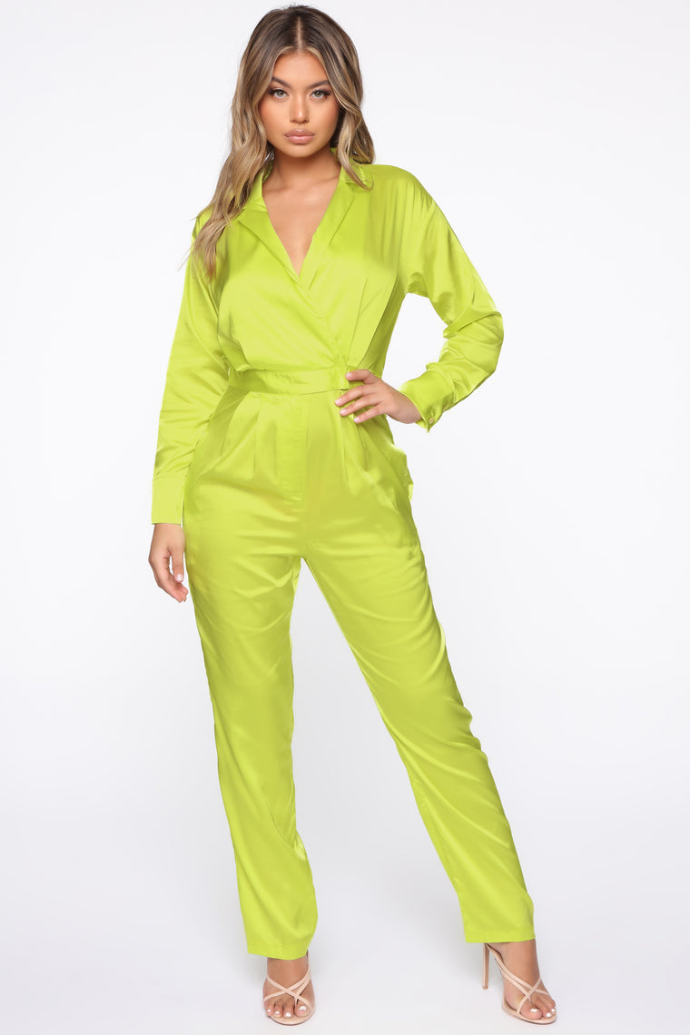 Smooth Move Satin Jumpsuit - Neon Yellow