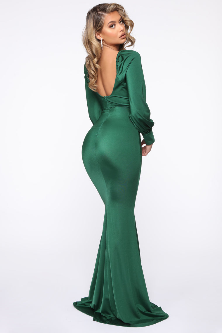 Sweet And Sleek Maxi Dress - Hunter