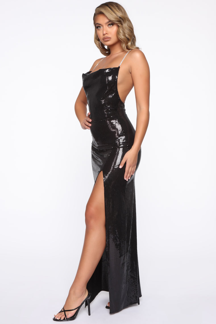 One More Dance Sequin Maxi Dress - Black