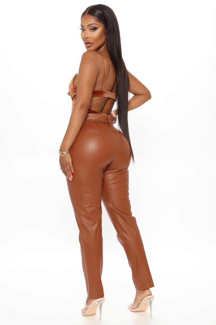 Blondie Belted Faux Leather Pants - Chestnut