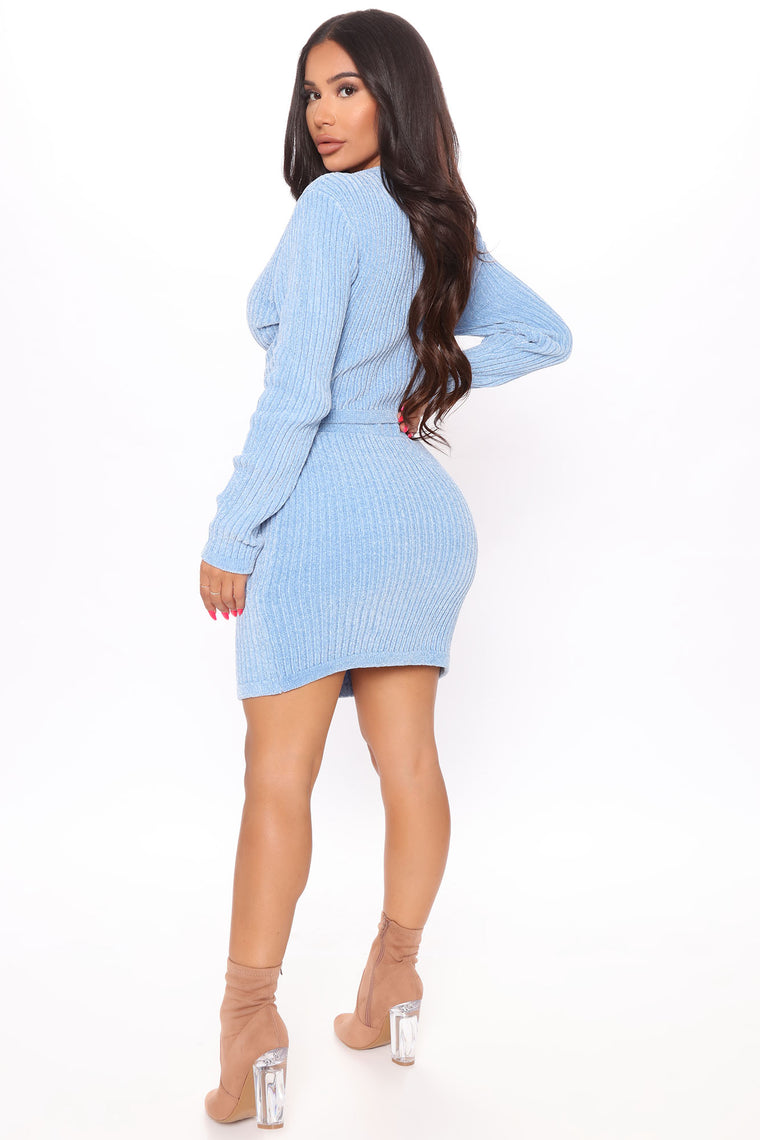 Look This Way Sweater Skirt Set - Blue