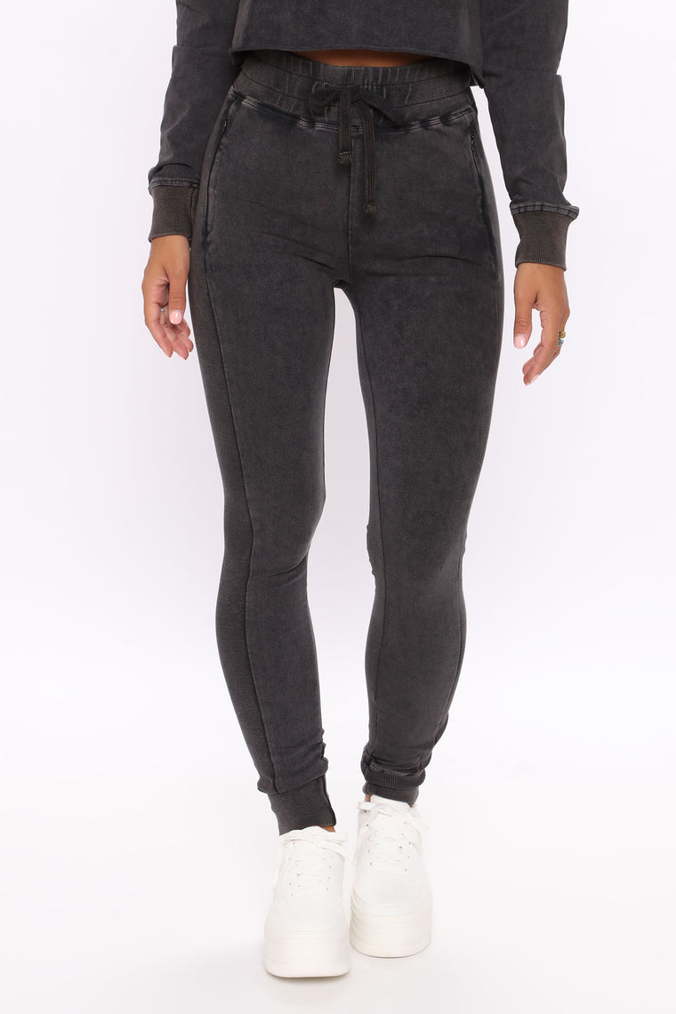 Power Athleisure Mineral Wash Jogger - Black