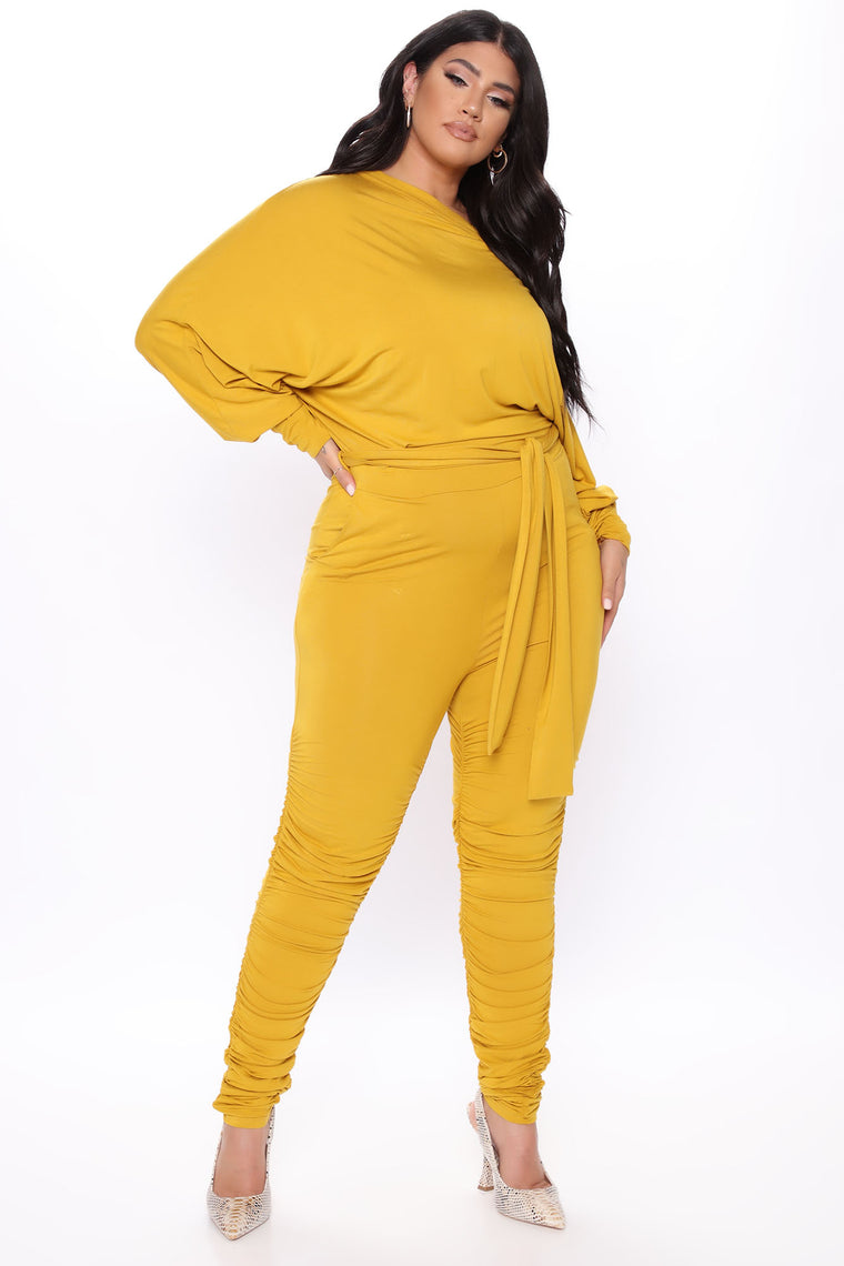 Pro Lounger Ruched Leg Jumpsuit - Mustard