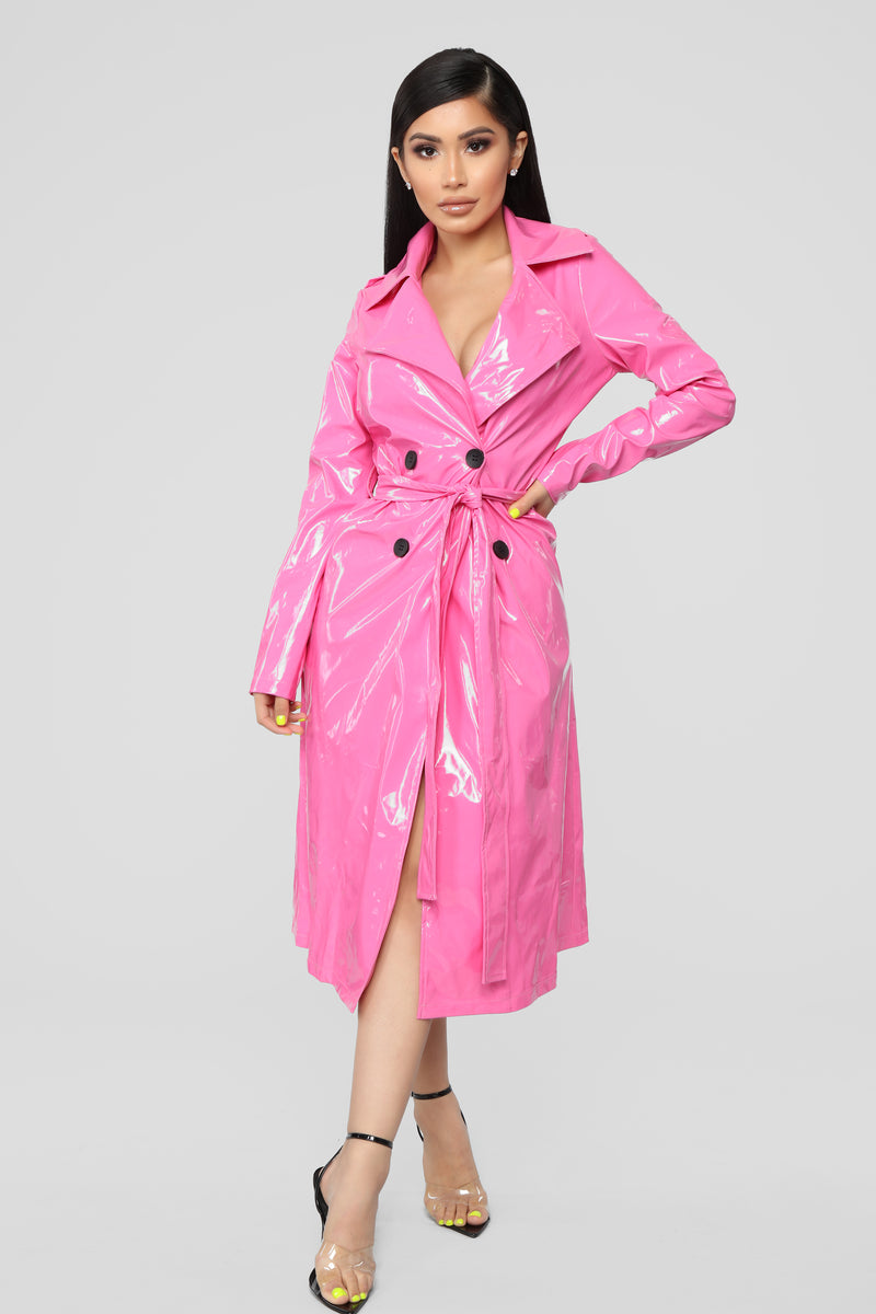aba3d95c4fc1 Life In Pink Trench Coat - Hot Pink