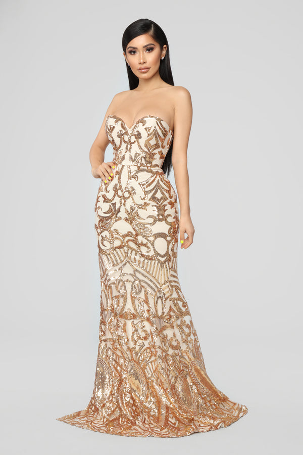 3f3c18c93a96 A Night To Remember Sequin Dress - Gold