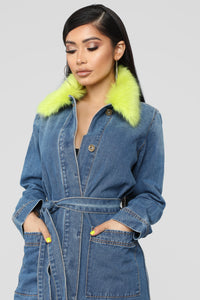 Exotic Faux Fur Denim Jacket - Denim