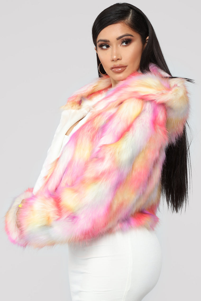 Fur Sure Hooded Jacket - Pink/Combo