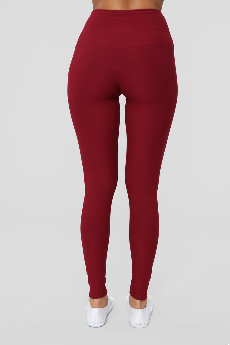 Never Basic Leggings - Burgundy