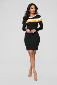 Most Popular Color Block Dress - Black
