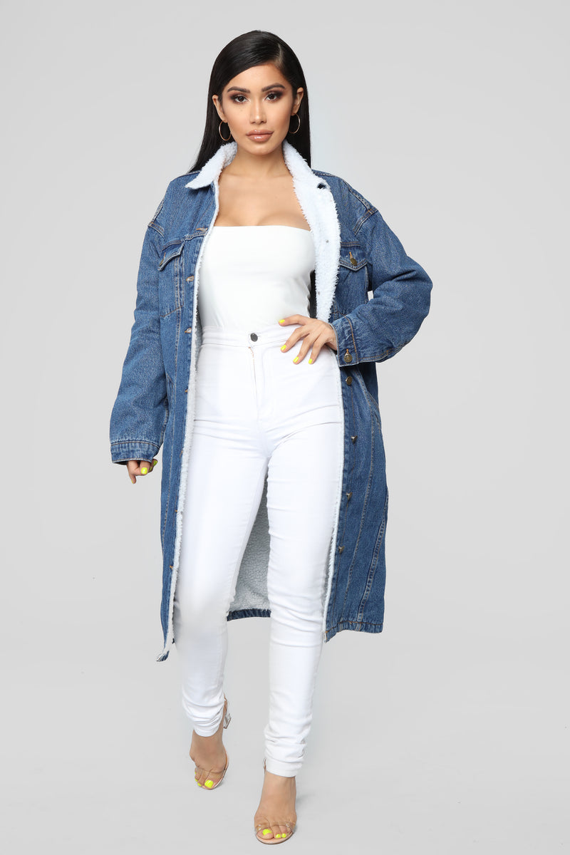 Denim Snuggle Long Jacket - Medium Wash