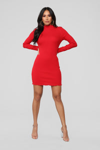 Cinna Ribbed Dress - Red