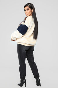 Can't Furget About You Jacket - Ivory/Navy