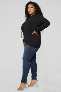 Sienna Pullover Lace Up Hoodie - Black