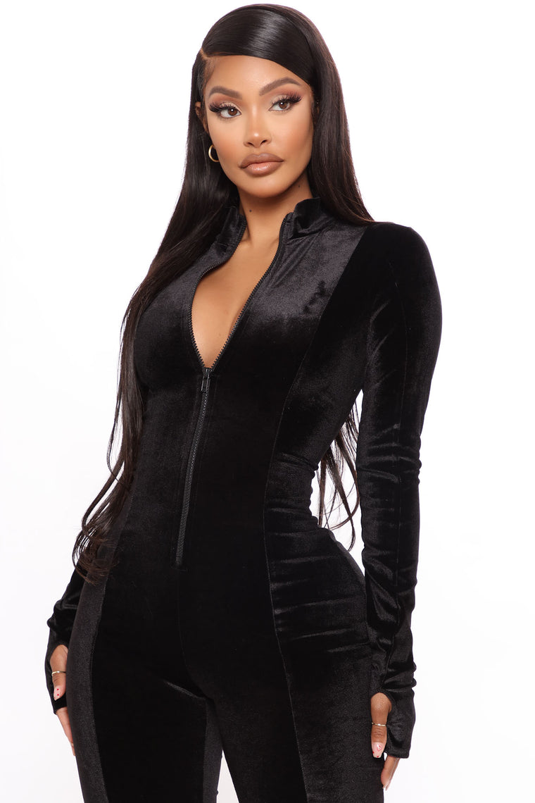 Chocolate Dream Velvet Stacked Jumpsuit - Black