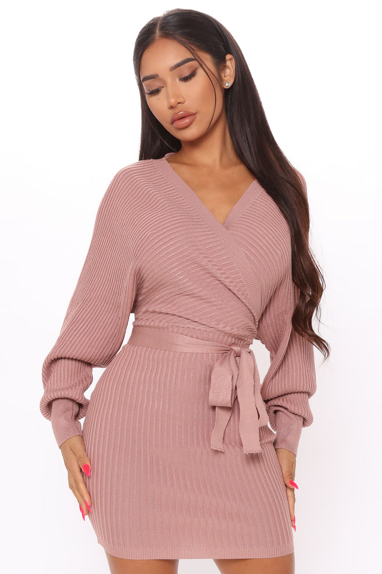 Just Between Us Sweater Dress - Mauve