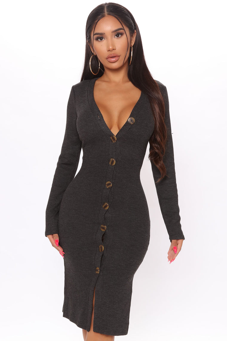 Show Some Sass Sweater Dress - Charcoal