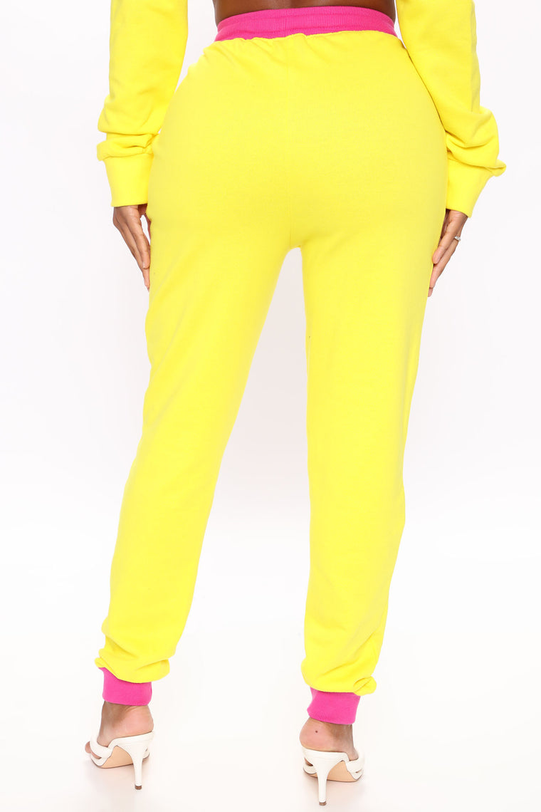 Baby Girl Color Block Sweatpants - Yellow/combo