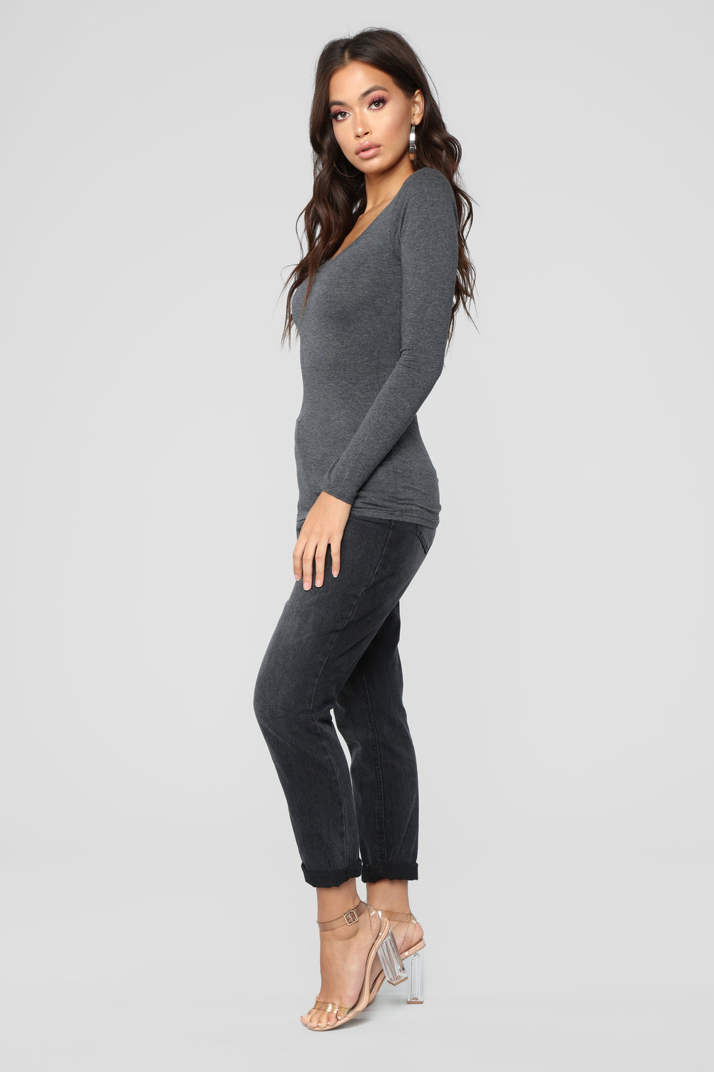 Briana Long Sleeve Top - Charcoal
