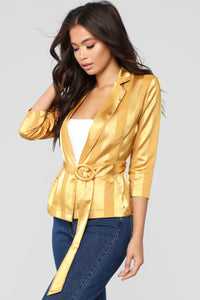 Satin Stripe Fever Blazer - Mustard