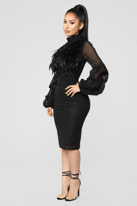 Secret Journal Fuzzy Dress - Black