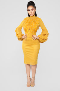 Secret Journal Fuzzy Dress - Mustard