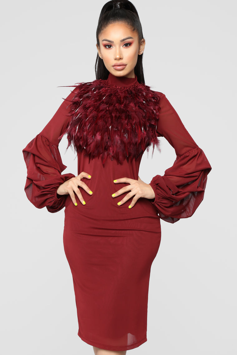 Secret Journal Fuzzy Dress - Burgundy