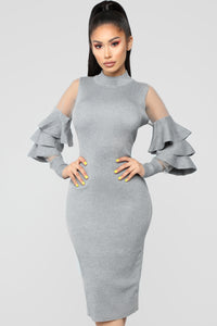 Give Me More Ruffle Dress - Charcoal