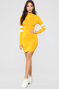 Varsity Blues Dress - Mustard Angle 1
