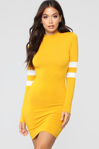 Varsity Blues Dress - Mustard Angle 2