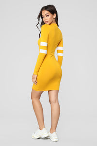 Varsity Blues Dress - Mustard Angle 4
