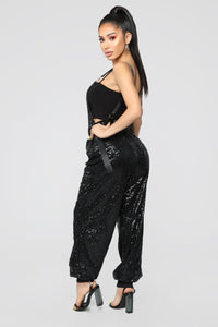 Center Of Attention Sequin Jumpsuit - Black