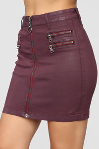 Burnin' Bridges Skirt - Burgundy
