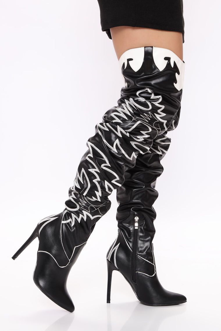 Wildin' In The West Heeled Boot - Black/White