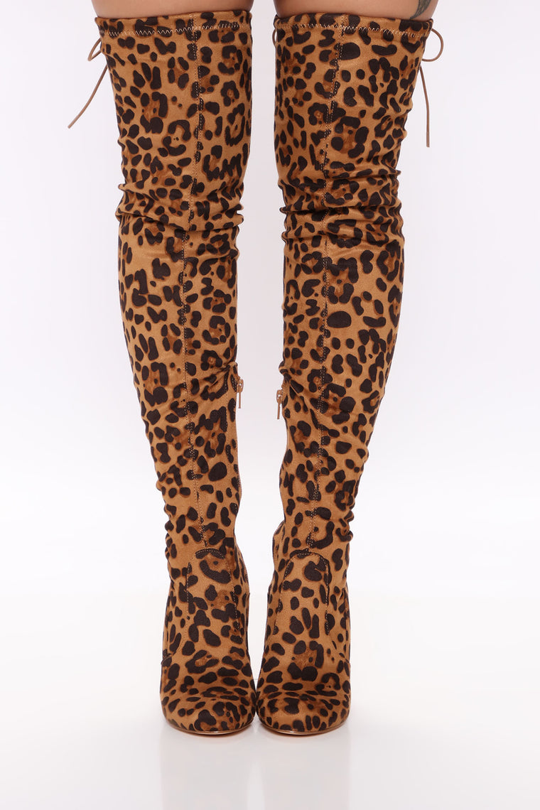 Pretty In Thigh High Boots - Leopard