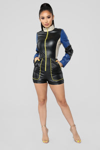 Motorsport Colorblock Romper - Black/Royal