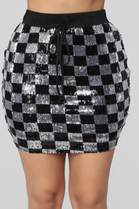 Checkmate Skirt Set - Black/Silver