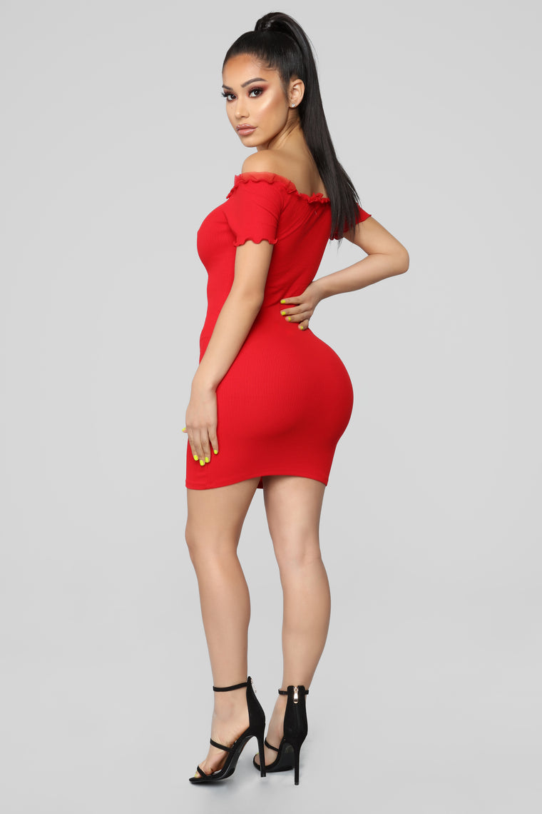 Kyla Ribbed Dress - Red