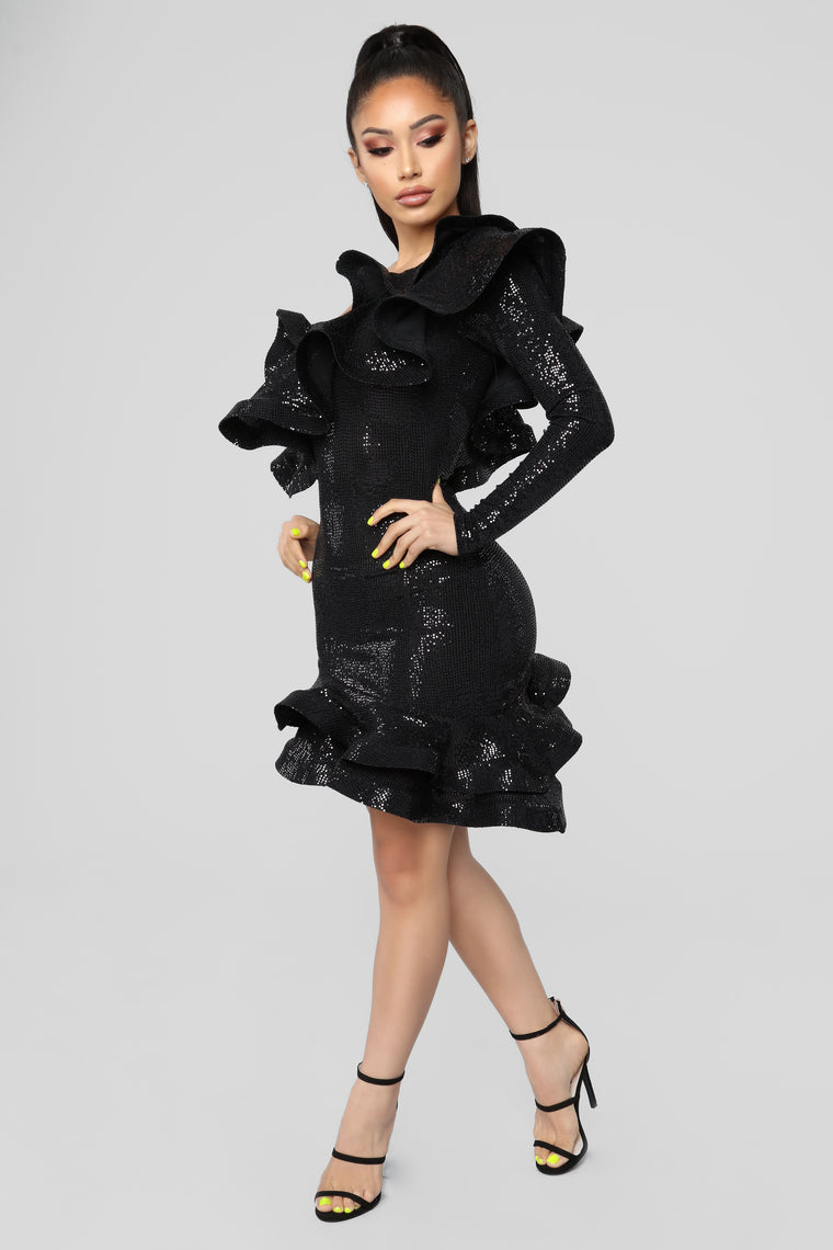 Throwin' Shade Ruffle Dress - Black
