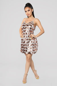 Dance The Night Away Dress - Rose Gold