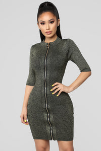 Disco Diva Sweater Dress - Gold