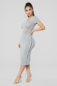 Go Get It Girl Midi Dress - Heather Grey
