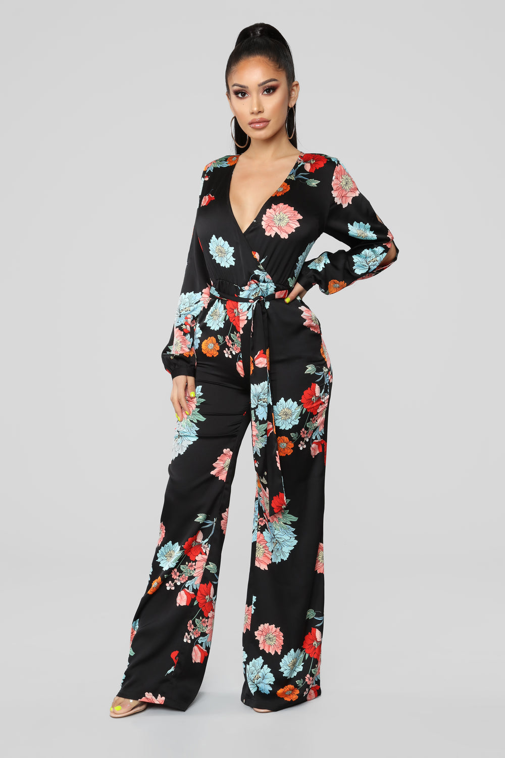 Vibes In The Garden Floral Jumpsuit - Black/Multi