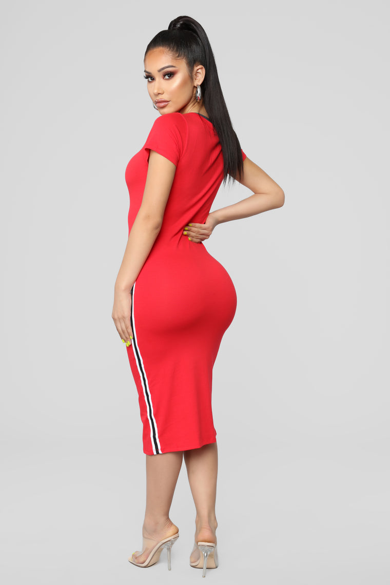 Go Get It Girl Midi Dress - Red