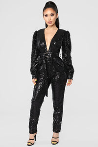 Dance Into Day Sequin Jumpsuit - Black Angle 1
